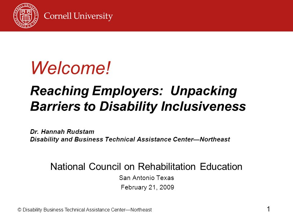 © Disability Business Technical Assistance CenterNortheast 1 Welcome! Reaching Employers: Unpacking Barriers to Disability Inclusiveness Dr. Hannah Ru