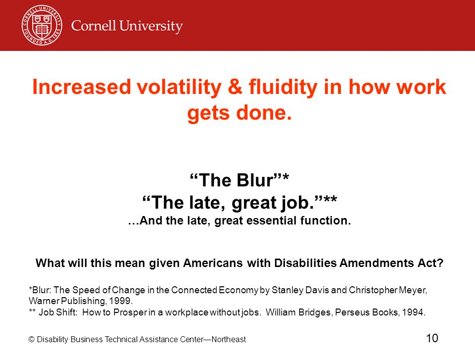 © Disability Business Technical Assistance CenterNortheast 10 Increased volatility & fluidity in how work gets done. The Blur* The late, great job.**