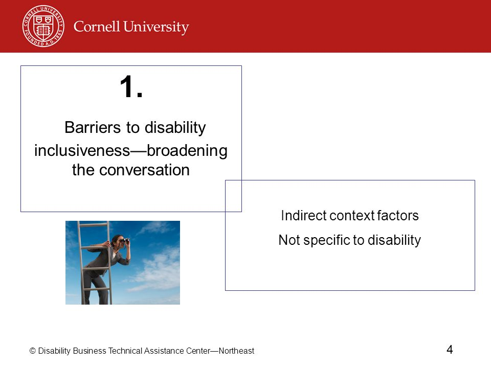 © Disability Business Technical Assistance CenterNortheast 4 Indirect context factors Not specific to disability 1.