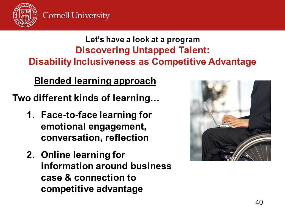 © Disability Business Technical Assistance CenterNortheast 40 Lets have a look at a program Discovering Untapped Talent: Disability Inclusiveness as Competitive Advantage Blended learning approach Two different kinds of learning… 1.Face-to-face learning for emotional engagement, conversation, reflection 2.Online learning for information around business case & connection to competitive advantage