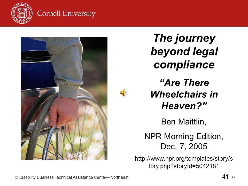 © Disability Business Technical Assistance CenterNortheast 41 41 The journey beyond legal compliance Are There Wheelchairs in Heaven.