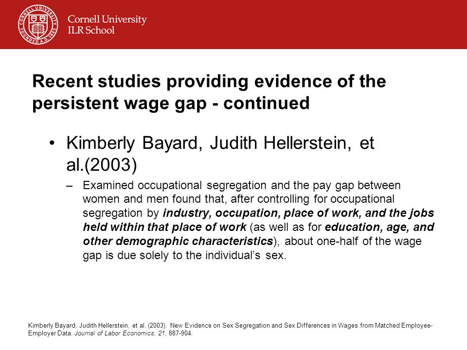Recent studies providing evidence of the persistent wage gap - continued Kimberly Bayard, Judith Hellerstein, et al.(2003) –Examined occupational segr
