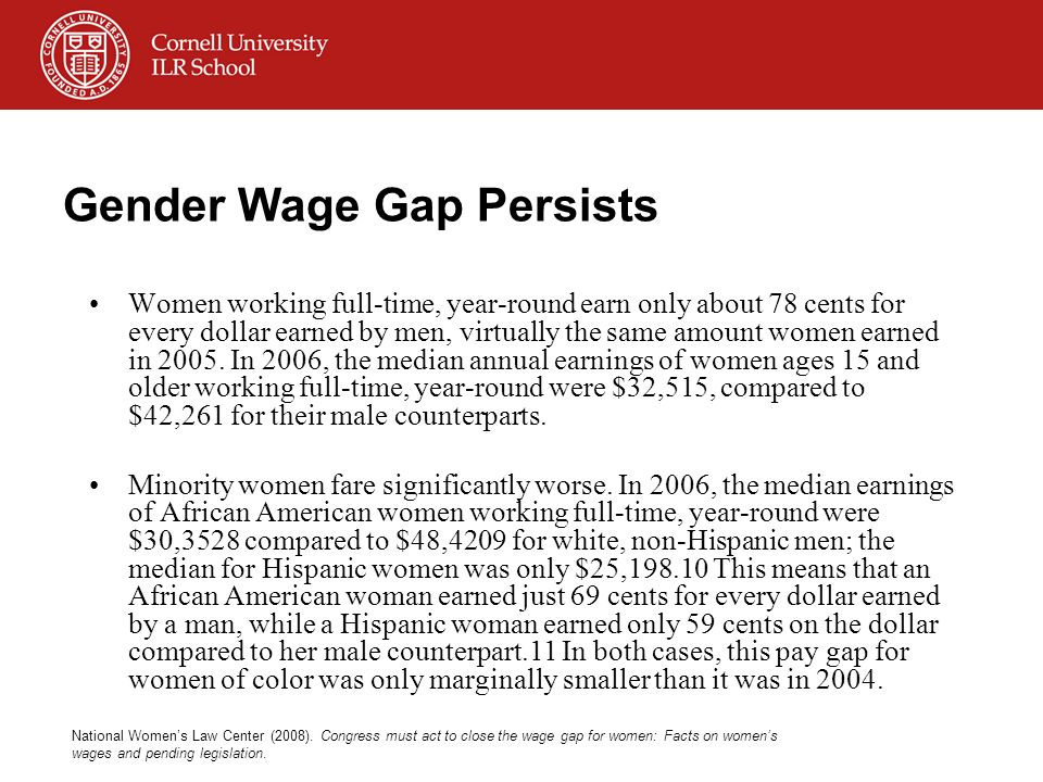 Gender Wage Gap Persists Women working full-time, year-round earn only about 78 cents for every dollar earned by men, virtually the same amount women earned in 2005.