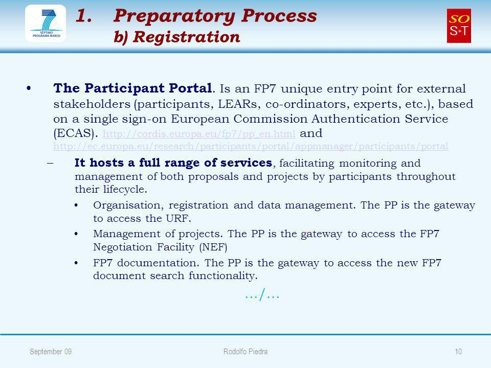 1. 1.Preparatory Process b) Registration The Participant Portal.