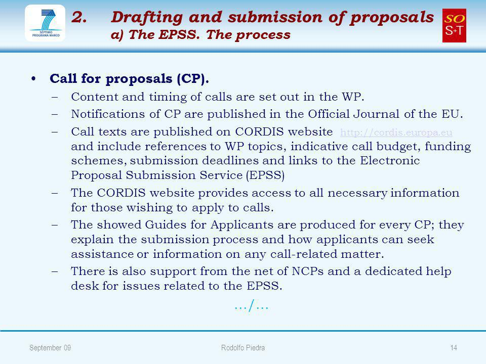 2. 2.Drafting and submission of proposals a) The EPSS.