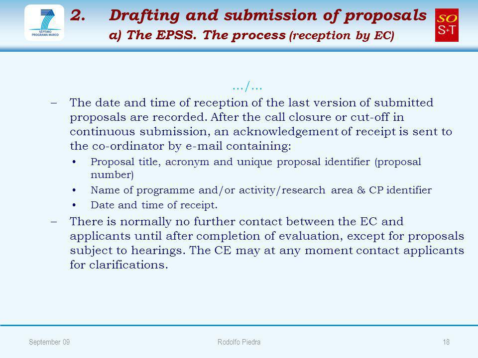 2. 2. Drafting and submission of proposals a) The EPSS.