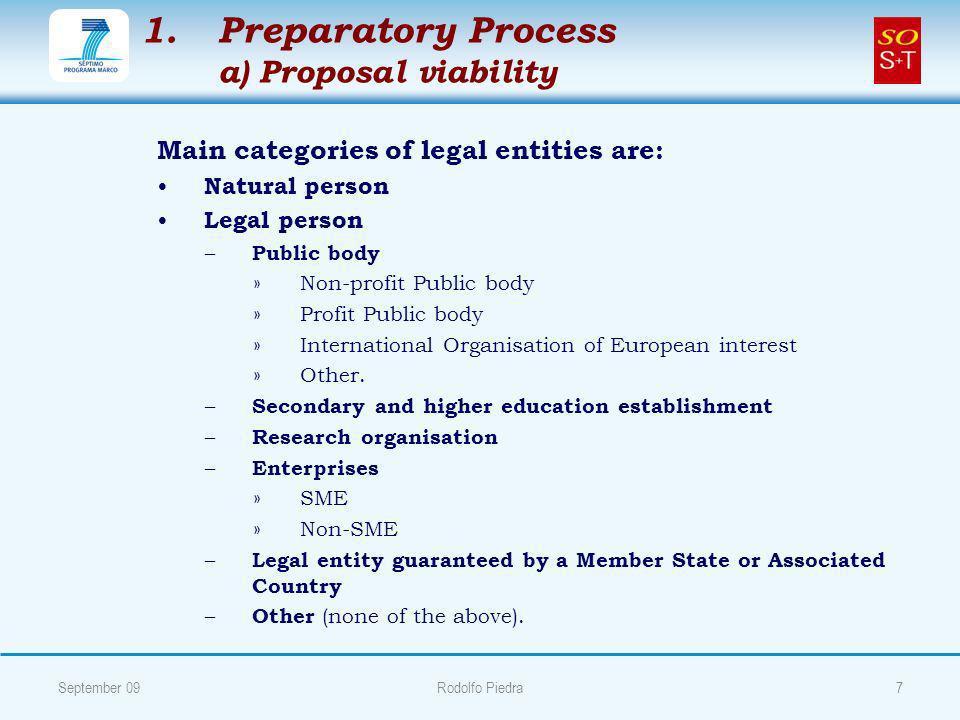 1. 1.Preparatory Process a) Proposal viability Main categories of legal entities are: Natural person Legal person – – Public body » »Non-profit Public