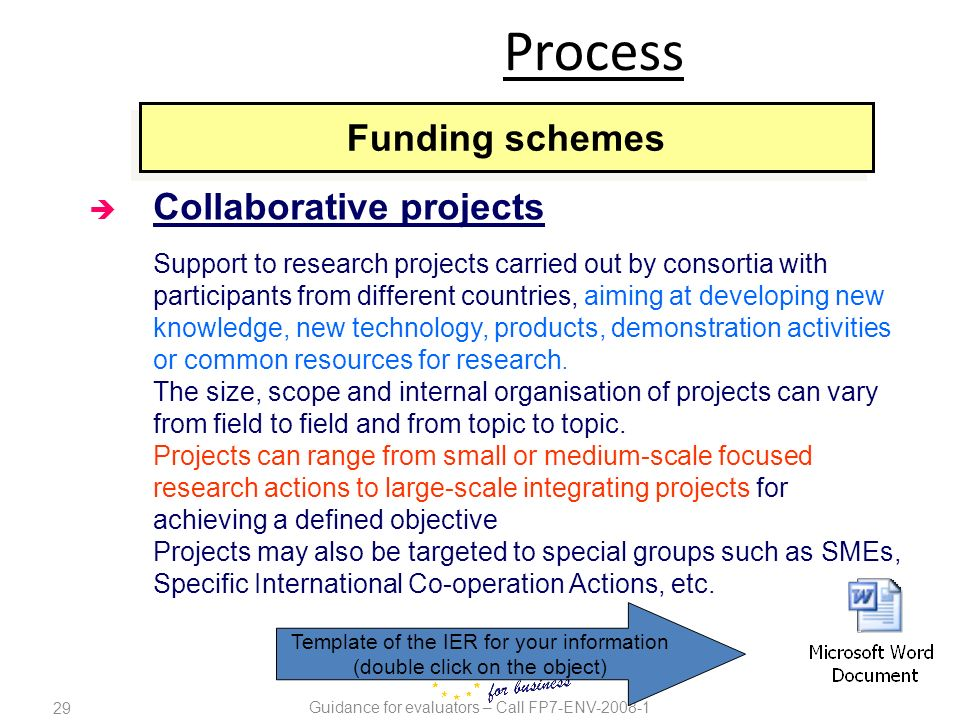 29 Guidance for evaluators – Call FP7-ENV-2008-1 è Collaborative projects Support to research projects carried out by consortia with participants from
