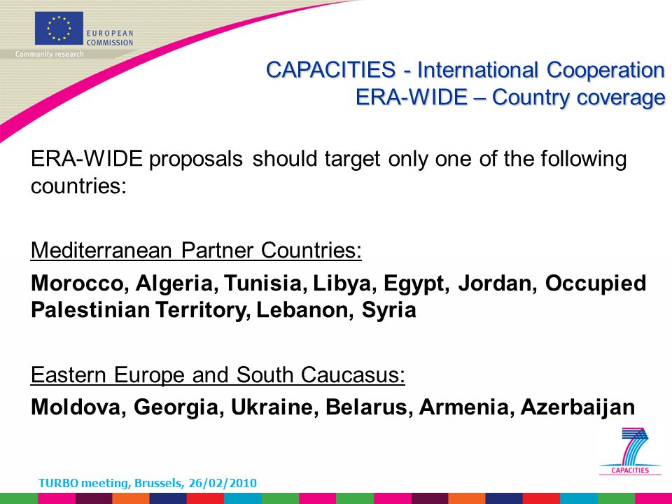 TURBO meeting, Brussels, 26/02/2010 ERA-WIDE proposals should target only one of the following countries: Mediterranean Partner Countries: Morocco, Algeria, Tunisia, Libya, Egypt, Jordan, Occupied Palestinian Territory, Lebanon, Syria Eastern Europe and South Caucasus: Moldova, Georgia, Ukraine, Belarus, Armenia, Azerbaijan CAPACITIES - International Cooperation ERA-WIDE – Country coverage