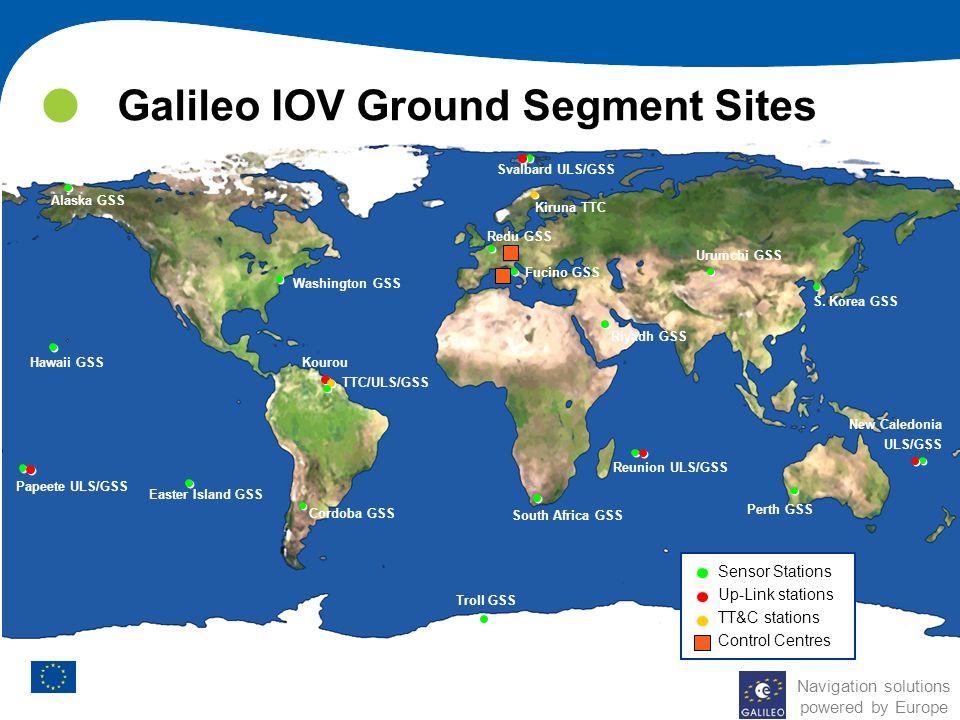Galileo IOV Ground Segment Sites Cordoba GSS Troll GSS Alaska GSS Hawaii GSS Papeete ULS/GSS Easter Island GSS Washington GSS Svalbard ULS/GSS Kiruna
