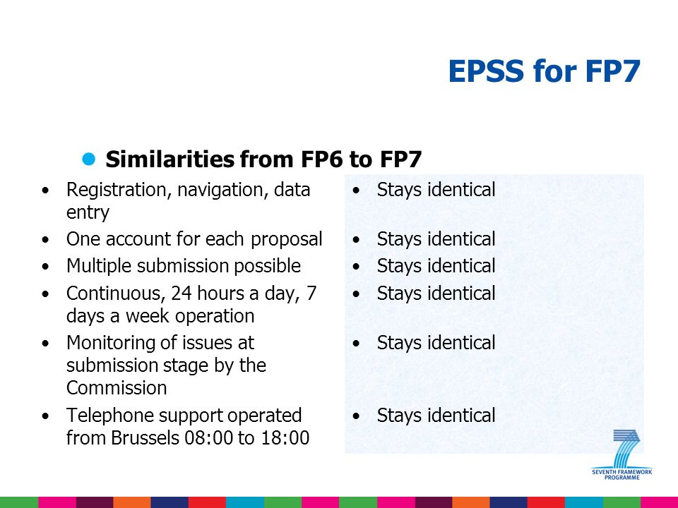 EPSS for FP7 lAchievements and lessons learned in FP6 èConfidence has been built into the online version Over 350.000 unique users during FP6 The offline preparation tool was identified very early as a trouble maker
