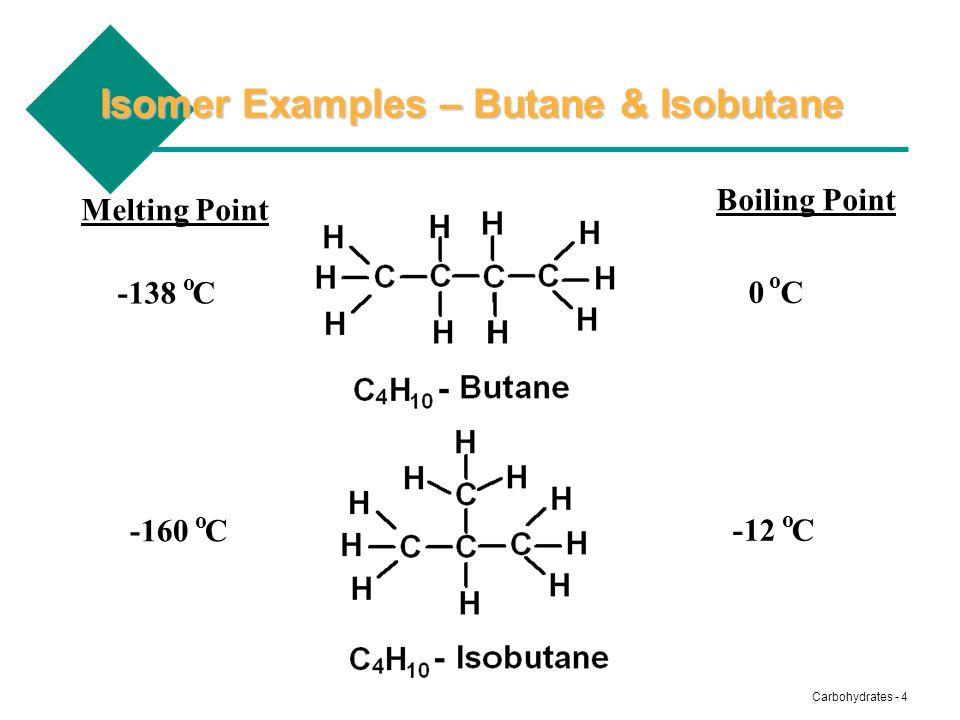 Carbohydrates - 4 Isomer Examples – Butane & Isobutane Boiling Point Melting Point -138 C -160 C 0 C -12 C o o o o