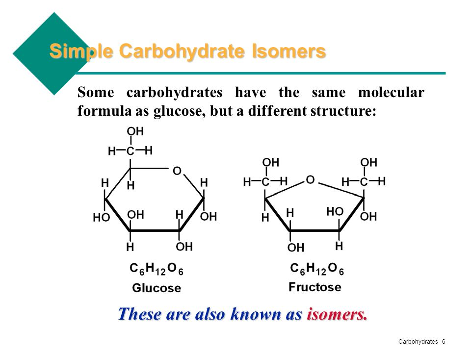 Carbohydrates - 7 Simple Carbohydrate Isomers Sometimes the structural formulas of two isomers have very small differences as in glucose and galactose: OH is down OH is up