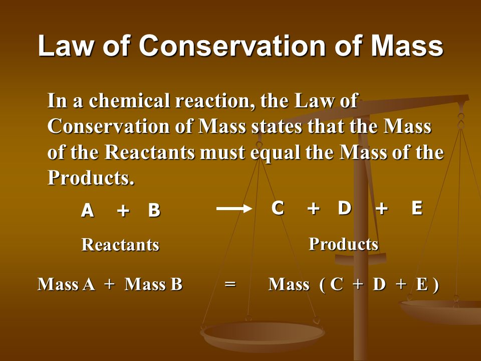 Law of Conservation of Mass In a chemical reaction, the Law of Conservation of Mass states that the Mass of the Reactants must equal the Mass of the P