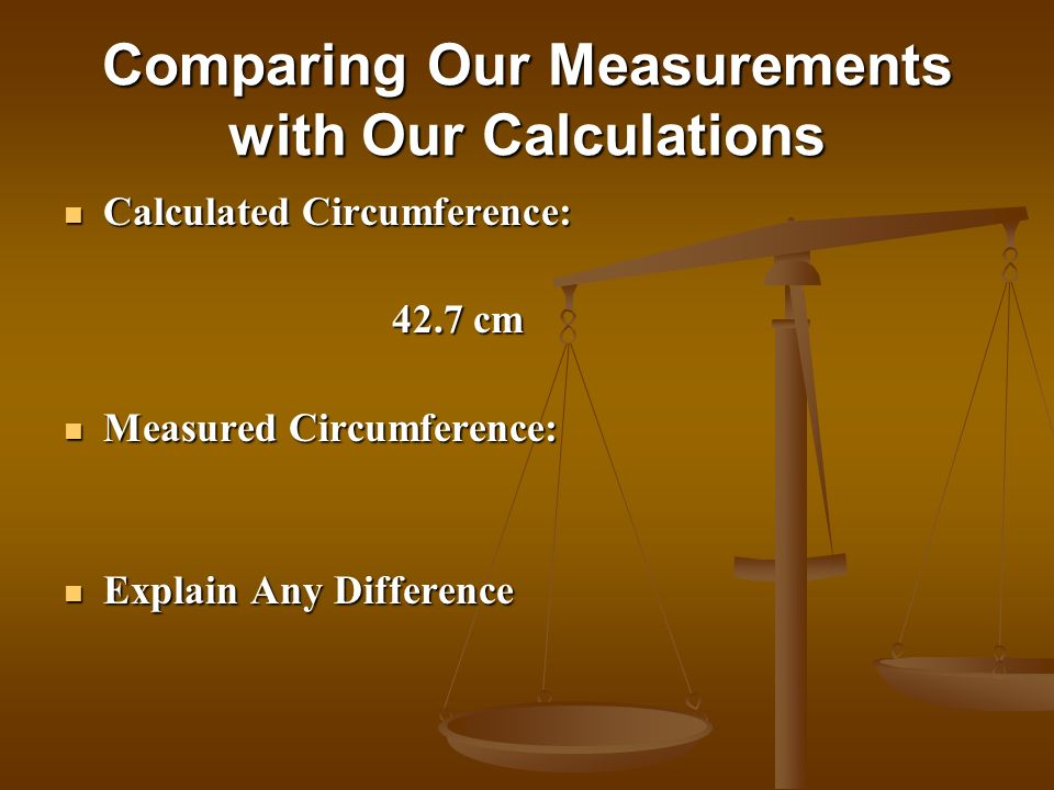 Comparing Our Measurements with Our Calculations Calculated Circumference: Calculated Circumference: 42.7 cm 42.7 cm Measured Circumference: Measured