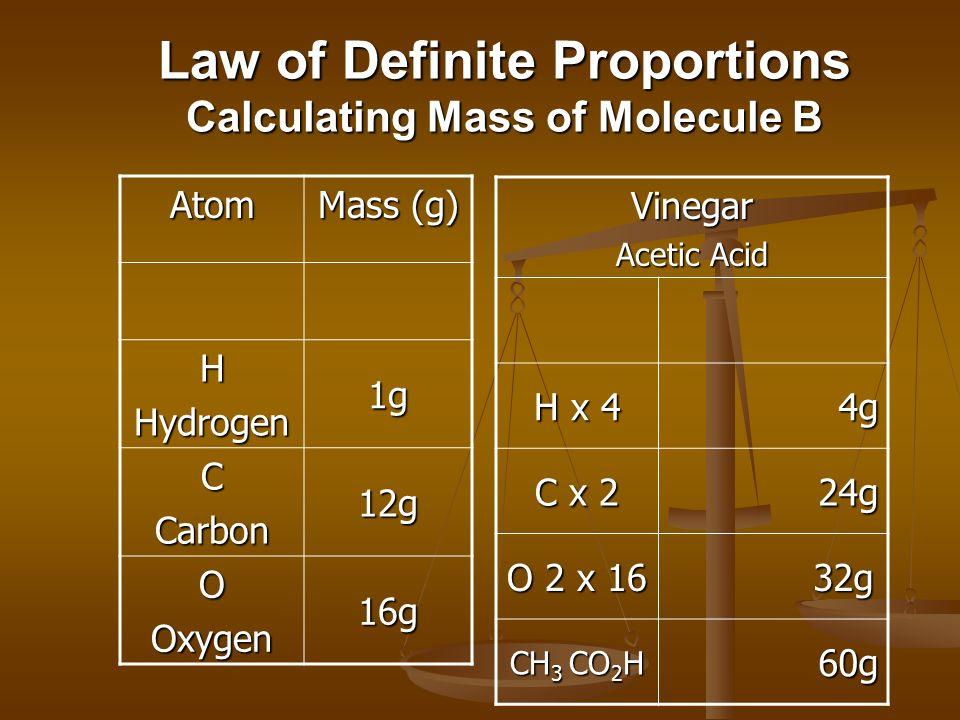 Law of Definite Proportions Calculating Mass of Molecule B Atom Mass (g) HHydrogen 1 g CCarbon 12 g OOxygen 16 g Vinegar Acetic Acid H x 4 1(4) = 4g C x 2 12(2) = 24g O X 2 16(2) = 32g CH 3 CO 2 H 60g