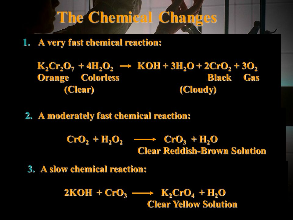 Halloween Colors 10 The Chemical Changes 1. A very fast chemical reaction: K 2 Cr 2 O 7 + 4H 2 O 2 KOH + 3H 2 O + 2CrO 2 + 3O 2 K 2 Cr 2 O 7 + 4H 2 O