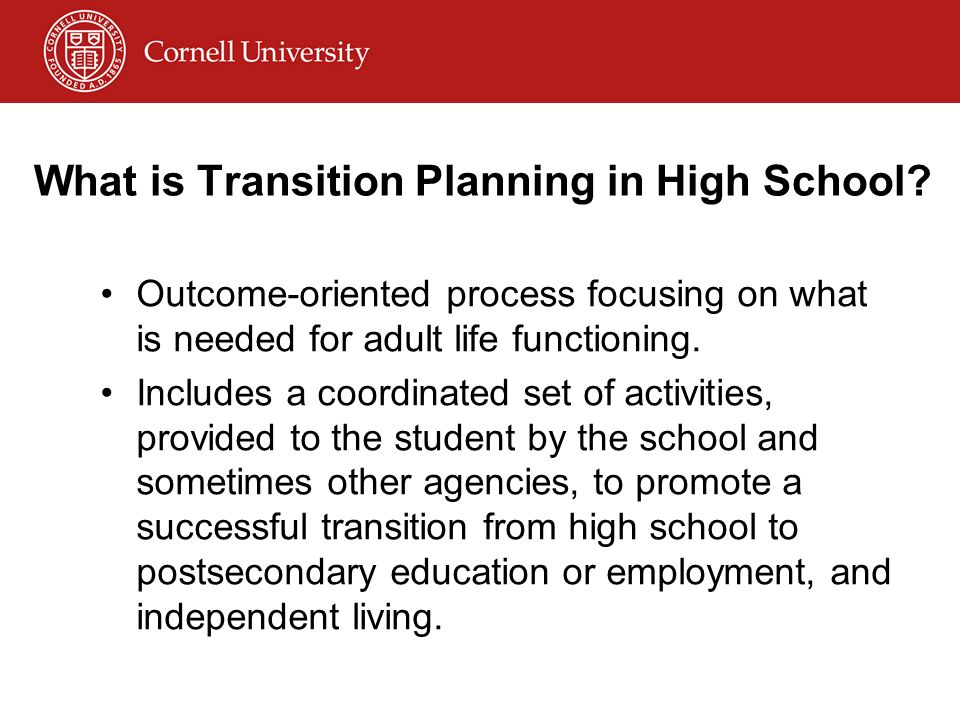 What is transition planning. Transition (noun) 1.