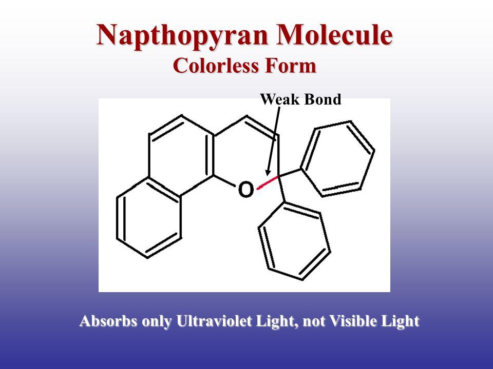 Napthopyran Molecule Colorless Form Absorbs only Ultraviolet Light, not Visible Light Weak Bond