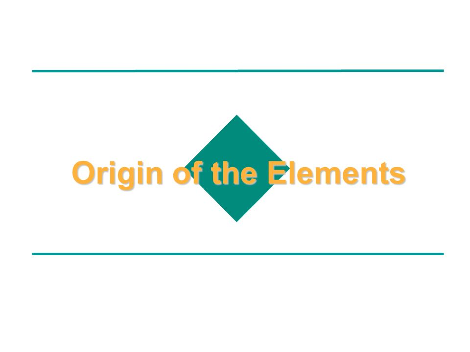 Origin of the Elements