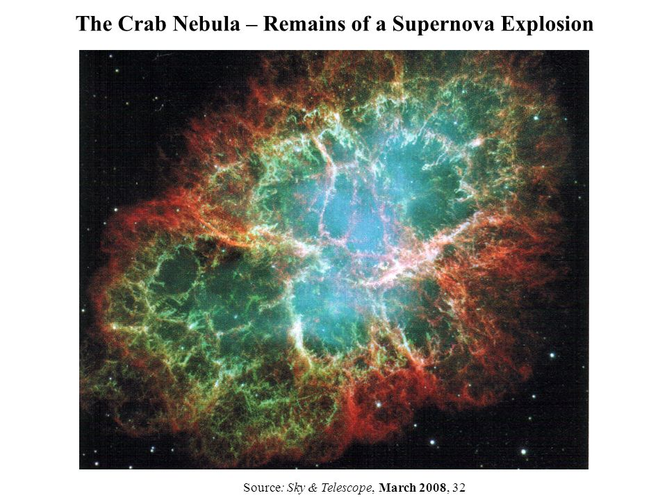 The Crab Nebula – Remains of a Supernova Explosion Source: Sky & Telescope, March 2008, 32