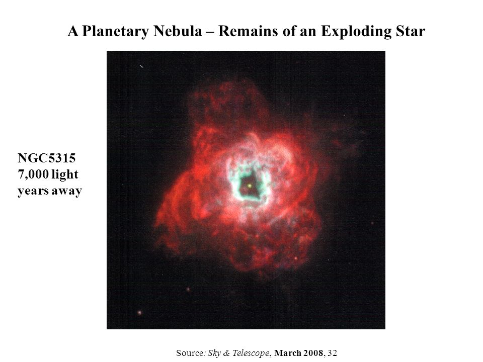 A Planetary Nebula – Remains of an Exploding Star NGC5315 7,000 light years away Source: Sky & Telescope, March 2008, 32