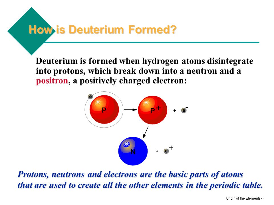 Origin of the Elements - 4 How is Deuterium Formed? Deuterium is formed when hydrogen atoms disintegrate into protons, which break down into a neutron