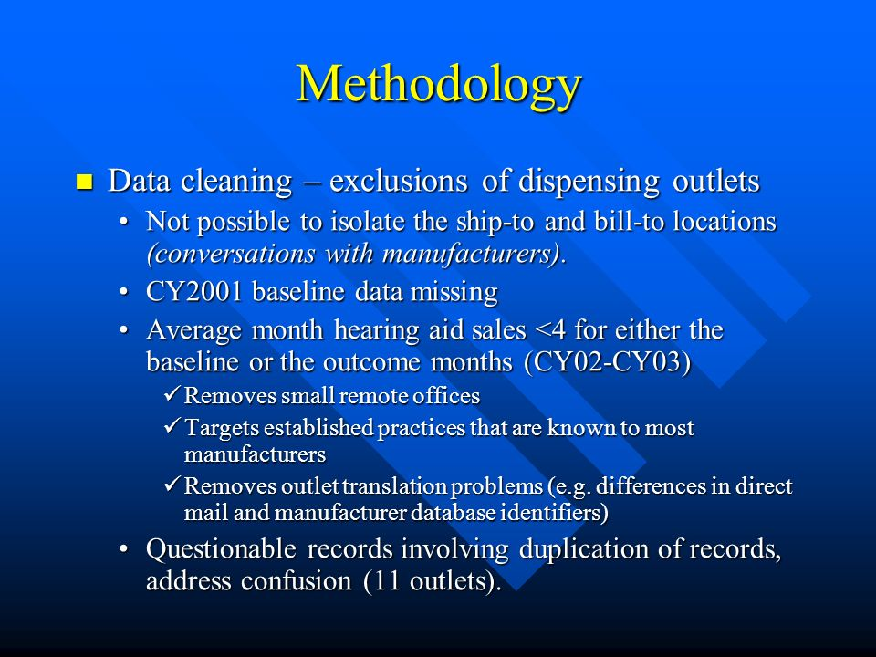 Methodology Data cleaning – exclusions of dispensing outlets Data cleaning – exclusions of dispensing outlets Not possible to isolate the ship-to and bill-to locations (conversations with manufacturers).Not possible to isolate the ship-to and bill-to locations (conversations with manufacturers).