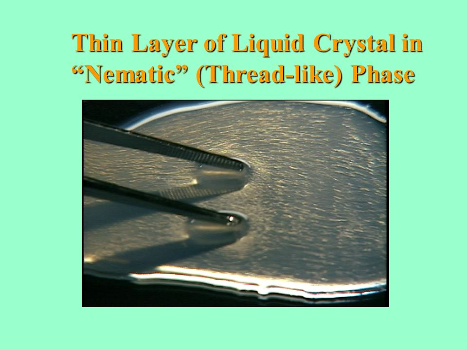Thin Layer of Liquid Crystal in Nematic (Thread-like) Phase