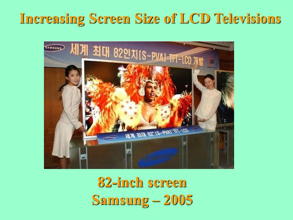 Increasing Screen Size of LCD Televisions 82-inch screen Samsung – 2005