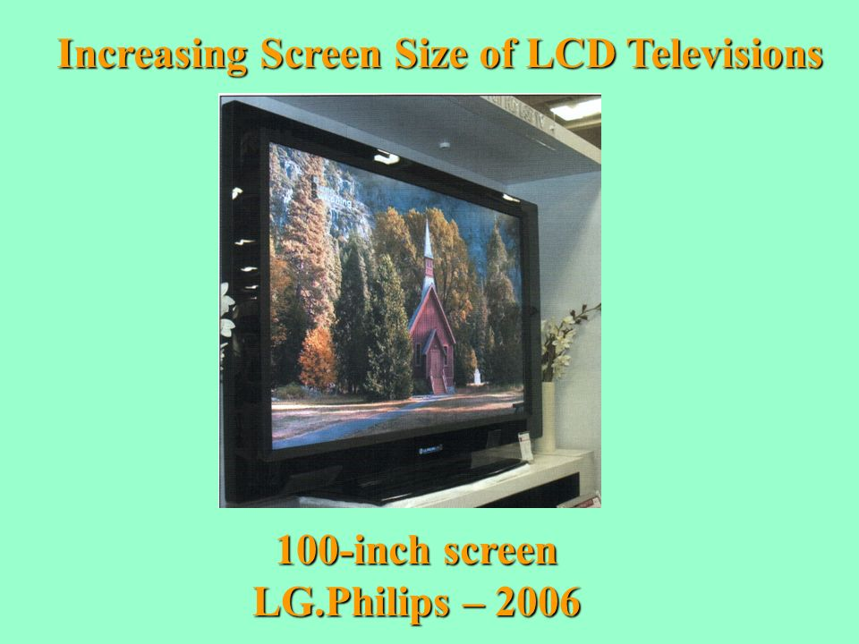 Increasing Screen Size of LCD Televisions 100-inch screen LG.Philips – 2006