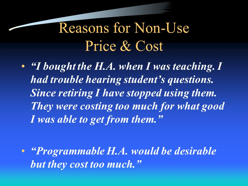 Reasons for Non-Use Price & Cost I bought the H.A.