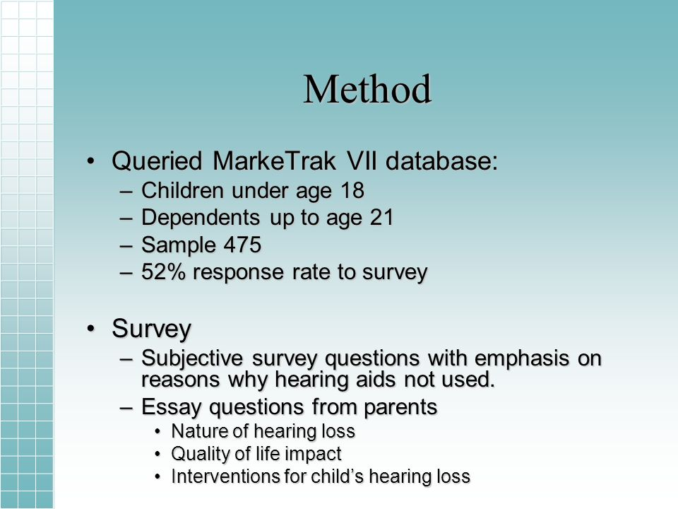 Method Queried MarkeTrak VII database:Queried MarkeTrak VII database: –Children under age 18 –Dependents up to age 21 –Sample 475 –52% response rate to survey SurveySurvey –Subjective survey questions with emphasis on reasons why hearing aids not used.