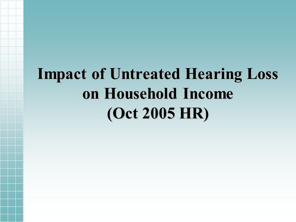 Impact of Untreated Hearing Loss on Household Income (Oct 2005 HR)