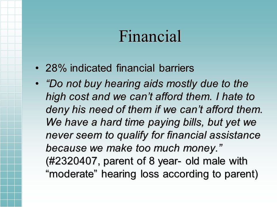 Financial 28% indicated financial barriers28% indicated financial barriers Do not buy hearing aids mostly due to the high cost and we cant afford them.