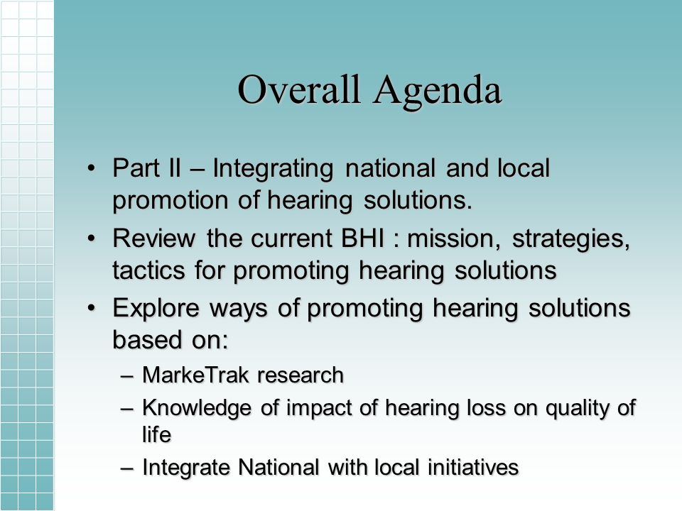 Overall Agenda Part II – Integrating national and local promotion of hearing solutions.Part II – Integrating national and local promotion of hearing solutions.