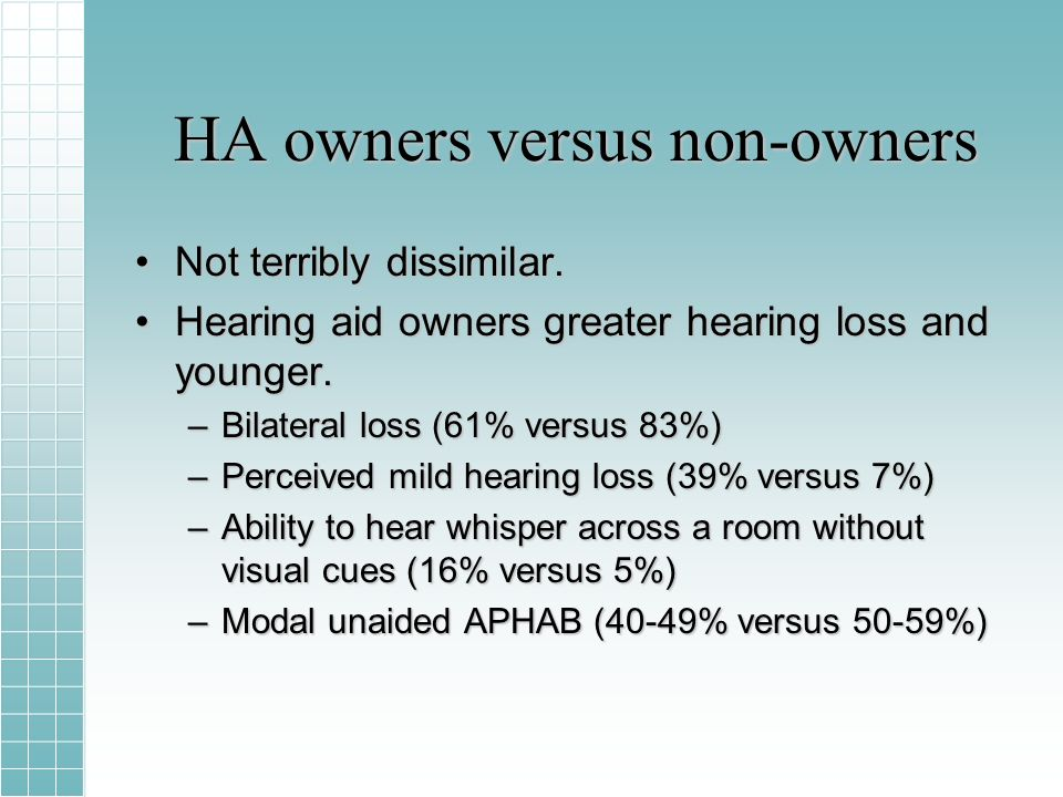HA owners versus non-owners Not terribly dissimilar.Not terribly dissimilar.