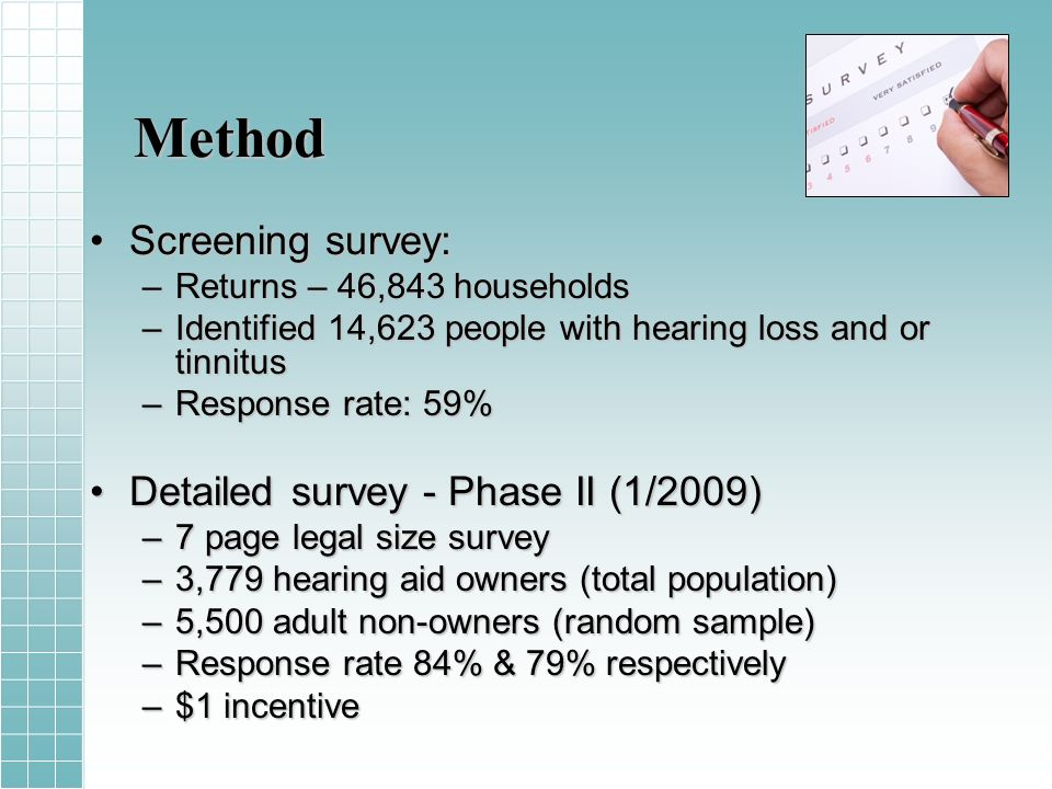 Method Screening survey:Screening survey: –Returns – 46,843 households –Identified 14,623 people with hearing loss and or tinnitus –Response rate: 59% Detailed survey - Phase II (1/2009)Detailed survey - Phase II (1/2009) –7 page legal size survey –3,779 hearing aid owners (total population) –5,500 adult non-owners (random sample) –Response rate 84% & 79% respectively –$1 incentive