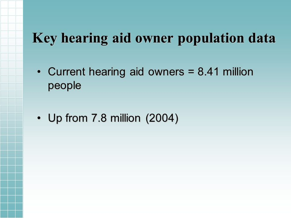 Key hearing aid owner population data Current hearing aid owners = 8.41 million peopleCurrent hearing aid owners = 8.41 million people Up from 7.8 million (2004)Up from 7.8 million (2004)