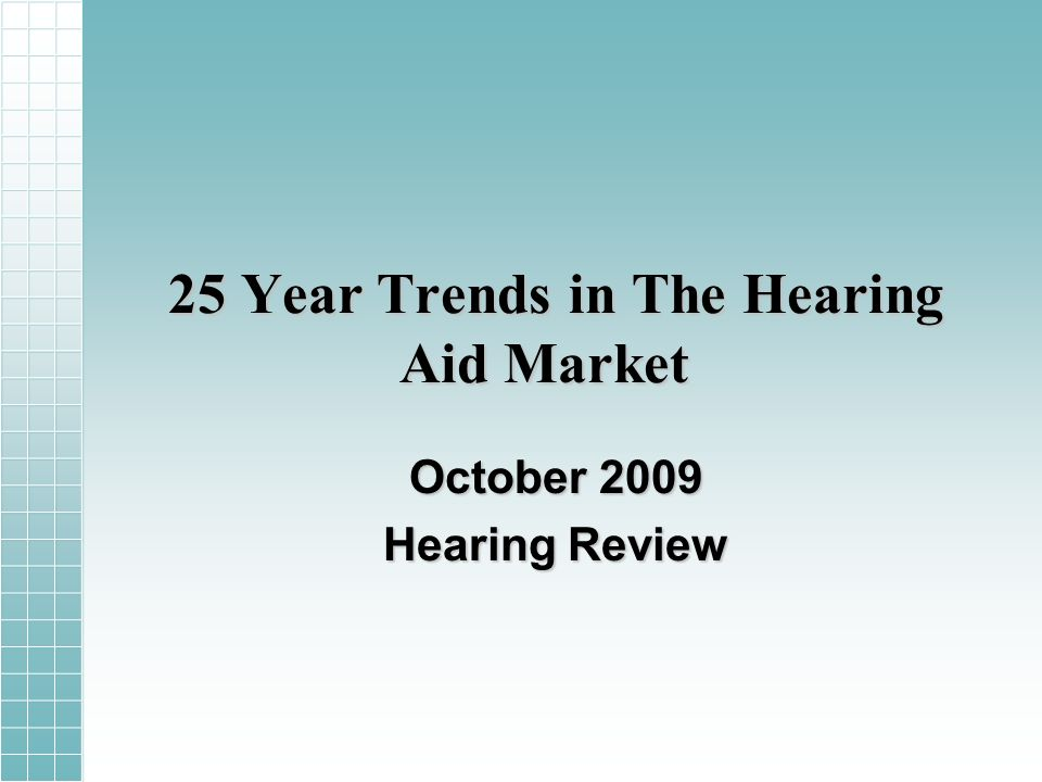 25 Year Trends in The Hearing Aid Market October 2009 Hearing Review