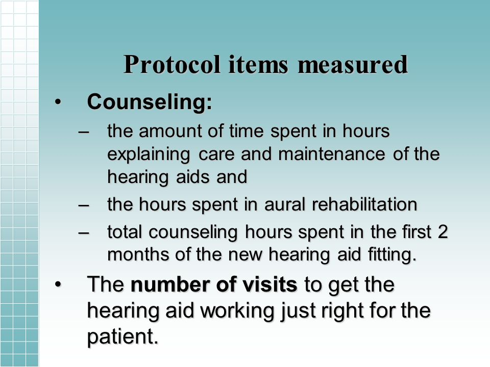 Protocol items measured Counseling:Counseling: –the amount of time spent in hours explaining care and maintenance of the hearing aids and –the hours spent in aural rehabilitation –total counseling hours spent in the first 2 months of the new hearing aid fitting.