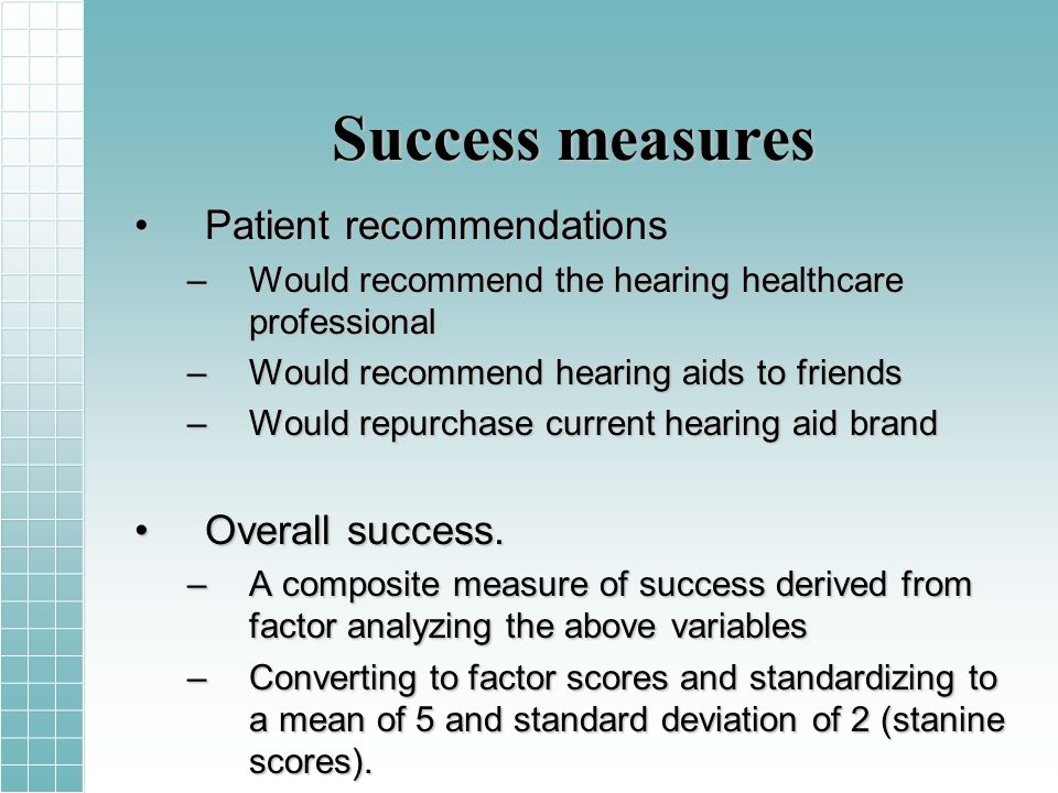 Success measures Patient recommendationsPatient recommendations –Would recommend the hearing healthcare professional –Would recommend hearing aids to friends –Would repurchase current hearing aid brand Overall success.Overall success.