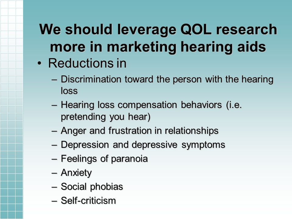 We should leverage QOL research more in marketing hearing aids Reductions inReductions in –Discrimination toward the person with the hearing loss –Hearing loss compensation behaviors (i.e.