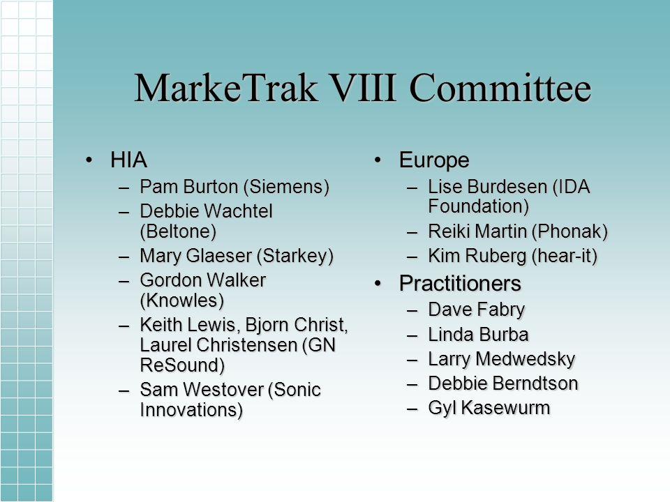 MarkeTrak VIII Committee HIAHIA –Pam Burton (Siemens) –Debbie Wachtel (Beltone) –Mary Glaeser (Starkey) –Gordon Walker (Knowles) –Keith Lewis, Bjorn C