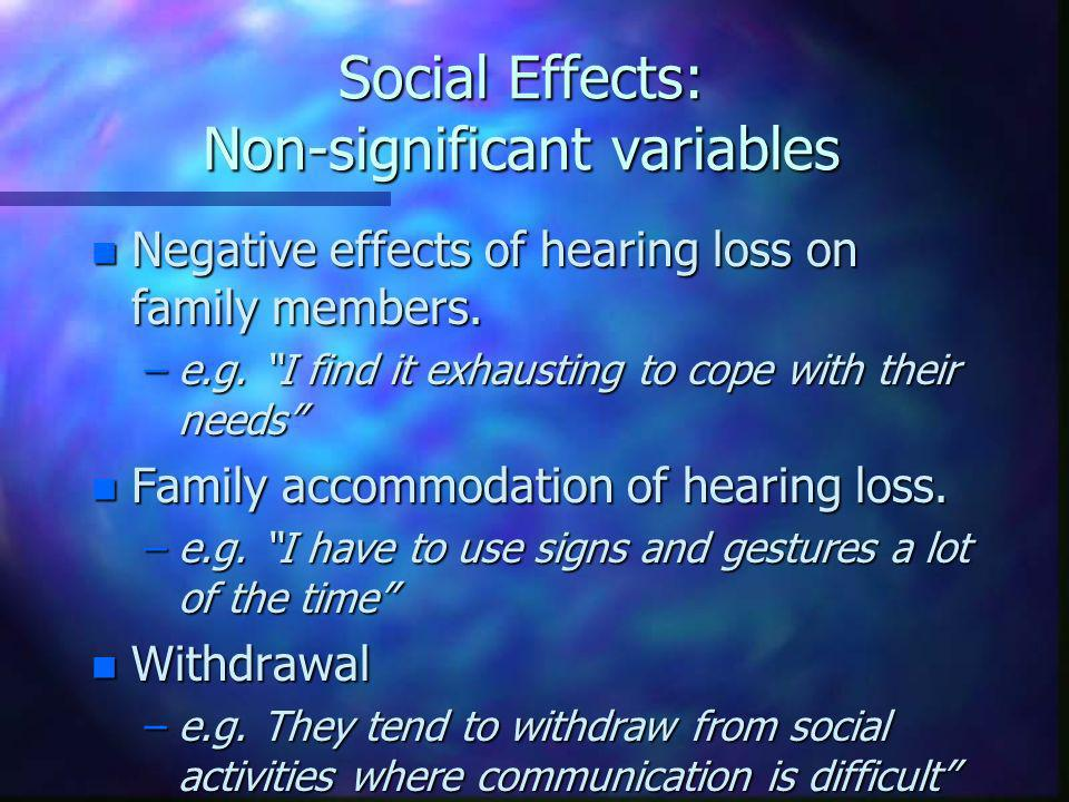 Social Effects: Non-significant variables n Negative effects of hearing loss on family members.