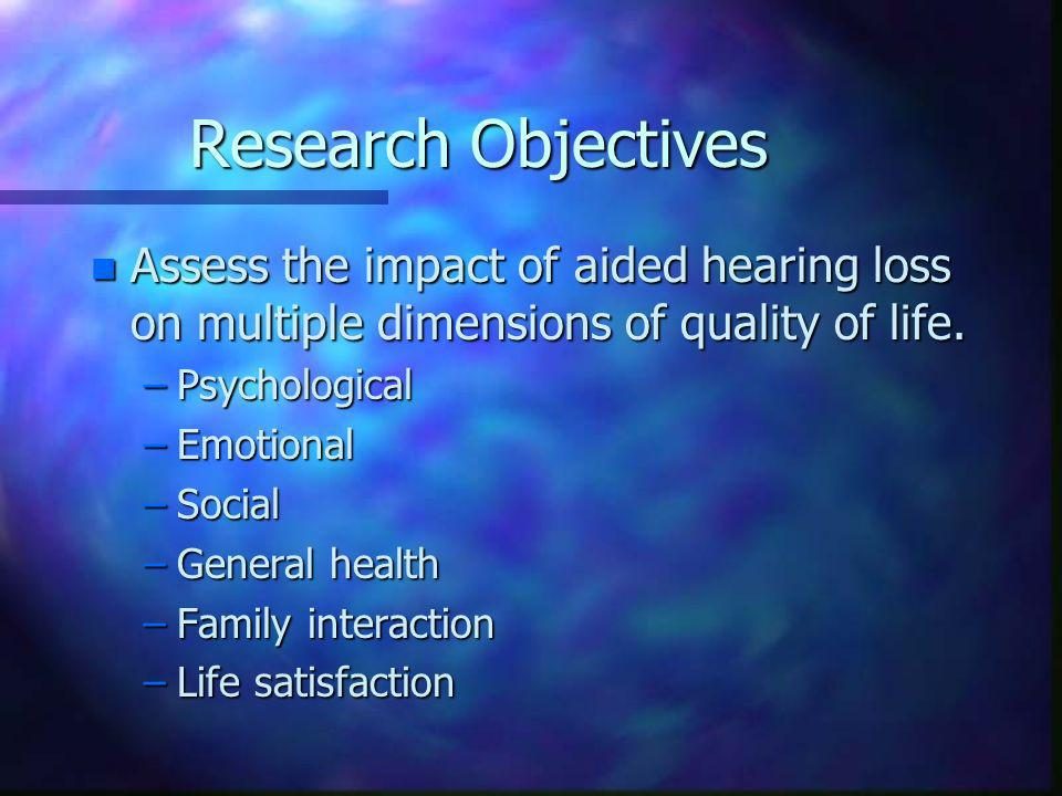 Analysis n Goal is to discern trends across the five hearing loss groups: aided vs unaided.