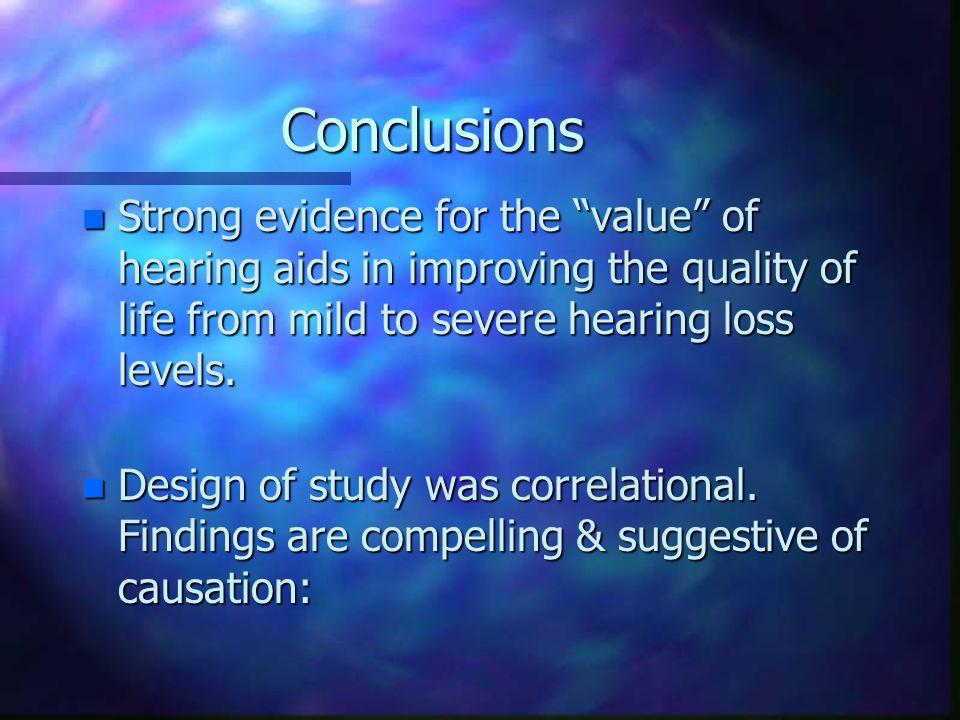 Conclusions n Strong evidence for the value of hearing aids in improving the quality of life from mild to severe hearing loss levels.
