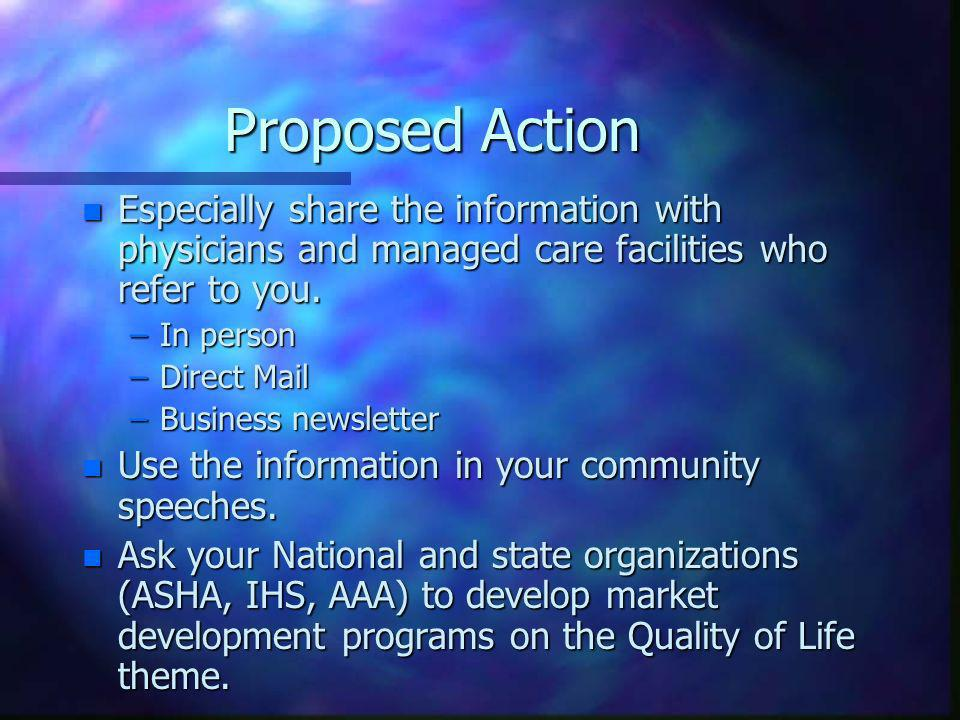 Proposed Action n Especially share the information with physicians and managed care facilities who refer to you.