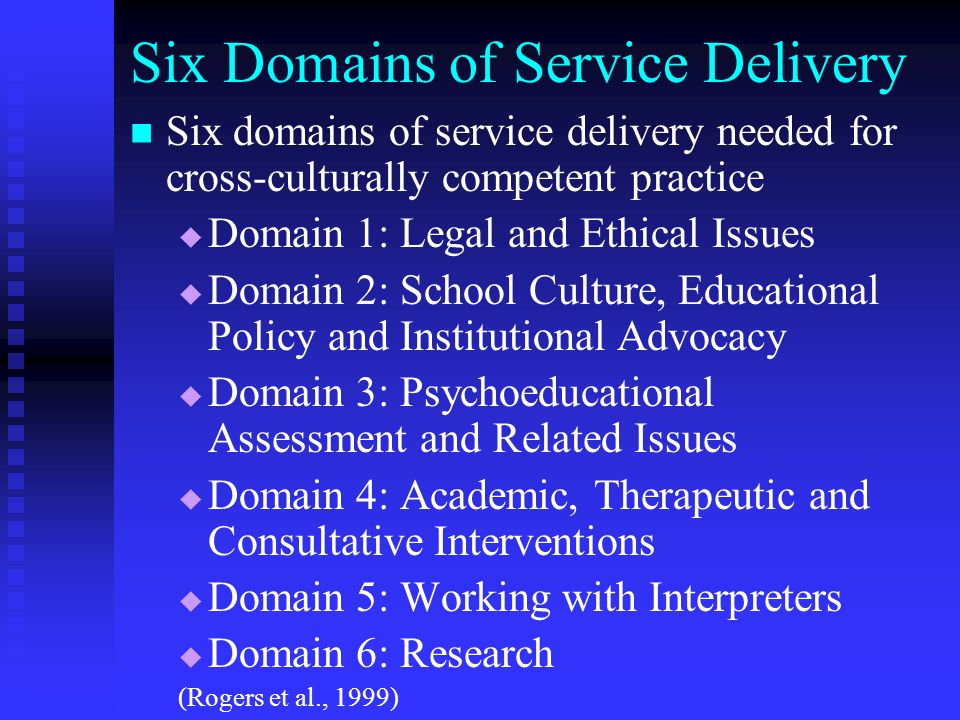 Six Domains of Service Delivery Six domains of service delivery needed for cross-culturally competent practice Domain 1: Legal and Ethical Issues Doma