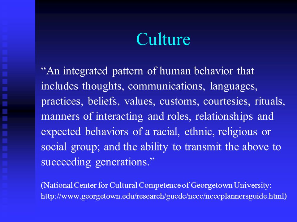 Culture An integrated pattern of human behavior that includes thoughts, communications, languages, practices, beliefs, values, customs, courtesies, ri